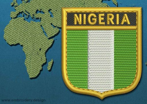 This Flag of Nigeria Shield with a Gold border design was digitized and embroidered by www.embroidery.design.