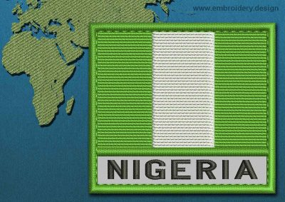 This Flag of Nigeria Text with a Colour Coded border design was digitized and embroidered by www.embroidery.design.