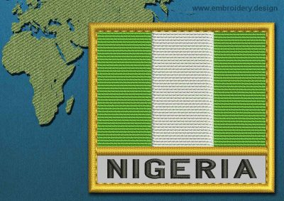 This Flag of Nigeria Text with a Gold border design was digitized and embroidered by www.embroidery.design.