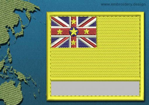 This Flag of Niue Customizable Text  with a Colour Coded border design was digitized and embroidered by www.embroidery.design.