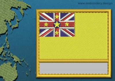 This Flag of Niue Customizable Text  with a Gold border design was digitized and embroidered by www.embroidery.design.