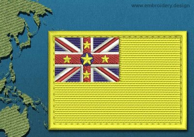 This Flag of Niue Rectangle with a Colour Coded border design was digitized and embroidered by www.embroidery.design.