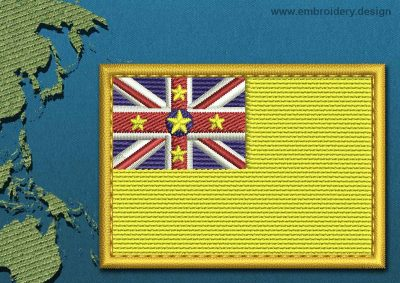 This Flag of Niue Rectangle with a Gold border design was digitized and embroidered by www.embroidery.design.