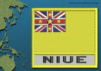 This Flag of Niue Text with a Colour Coded border design was digitized and embroidered by www.embroidery.design.