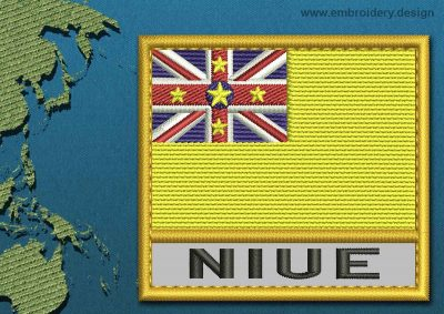 This Flag of Niue Text with a Gold border design was digitized and embroidered by www.embroidery.design.