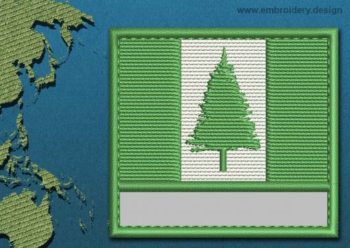 This Flag of Norfolk Island Customizable Text  with a Colour Coded border design was digitized and embroidered by www.embroidery.design.