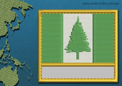 This Flag of Norfolk Island Customizable Text  with a Gold border design was digitized and embroidered by www.embroidery.design.