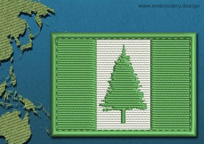 This Flag of Norfolk Island Rectangle with a Colour Coded border design was digitized and embroidered by www.embroidery.design.