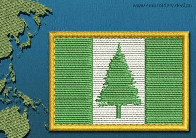 This Flag of Norfolk Island Rectangle with a Gold border design was digitized and embroidered by www.embroidery.design.
