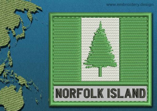 This Flag of Norfolk Island Text with a Colour Coded border design was digitized and embroidered by www.embroidery.design.