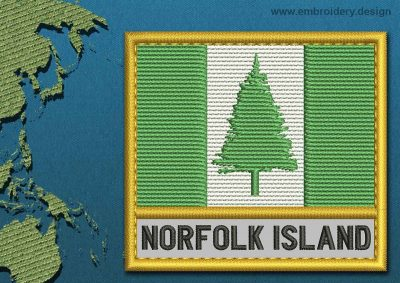 This Flag of Norfolk Island Text with a Gold border design was digitized and embroidered by www.embroidery.design.