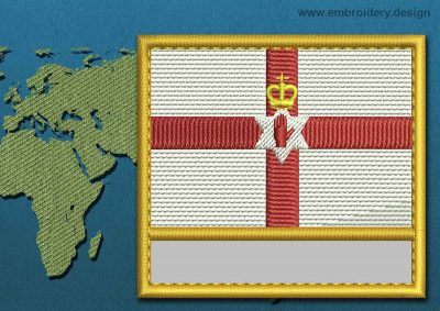 This Flag of Northern Ireland Customizable Text  with a Gold border design was digitized and embroidered by www.embroidery.design.