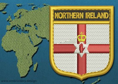 This Flag of Northern Ireland Shield with a Gold border design was digitized and embroidered by www.embroidery.design.