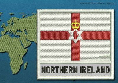 This Flag of Northern Ireland Text with a Colour Coded border design was digitized and embroidered by www.embroidery.design.