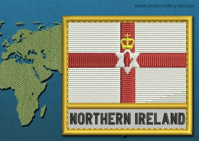 This Flag of Northern Ireland Text with a Gold border design was digitized and embroidered by www.embroidery.design.