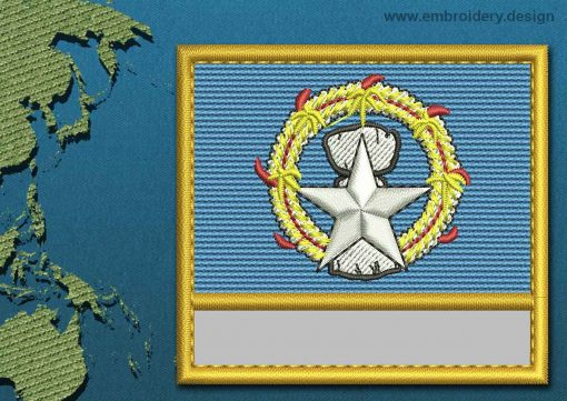 This Flag of Northern Mariana Islands Customizable Text  with a Gold border design was digitized and embroidered by www.embroidery.design.