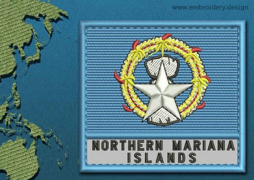 This Flag of Northern Mariana Islands Text with a Colour Coded border design was digitized and embroidered by www.embroidery.design.