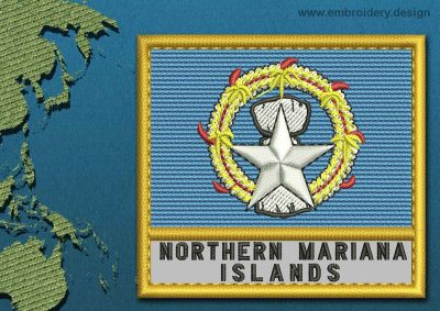This Flag of Northern Mariana Islands Text with a Gold border design was digitized and embroidered by www.embroidery.design.
