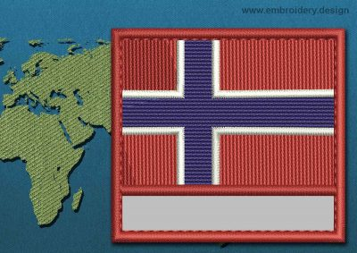 This Flag of Norway Customizable Text  with a Colour Coded border design was digitized and embroidered by www.embroidery.design.
