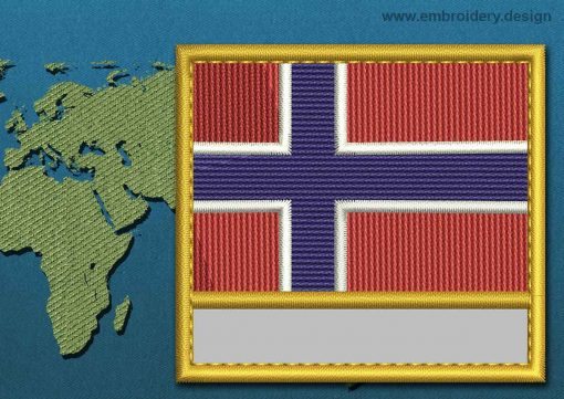 This Flag of Norway Customizable Text  with a Gold border design was digitized and embroidered by www.embroidery.design.