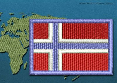 This Flag of Norway Mini with a Colour Coded border design was digitized and embroidered by www.embroidery.design.