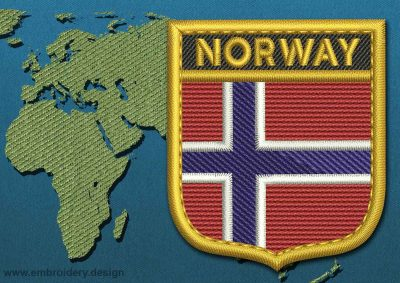 This Flag of Norway Shield with a Gold border design was digitized and embroidered by www.embroidery.design.