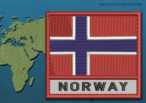 This Flag of Norway Text with a Colour Coded border design was digitized and embroidered by www.embroidery.design.