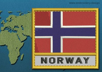 This Flag of Norway Text with a Gold border design was digitized and embroidered by www.embroidery.design.