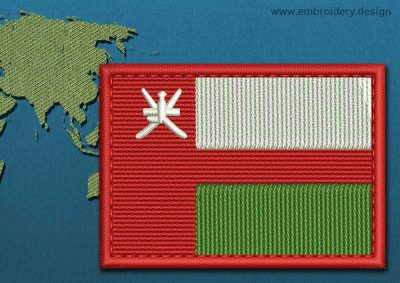 This Flag of Oman Rectangle with a Colour Coded border design was digitized and embroidered by www.embroidery.design.