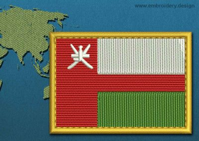 This Flag of Oman Rectangle with a Gold border design was digitized and embroidered by www.embroidery.design.