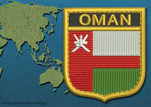This Flag of Oman Shield with a Gold border design was digitized and embroidered by www.embroidery.design.