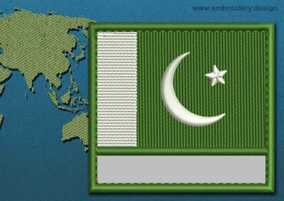 This Flag of Pakistan Customizable Text  with a Colour Coded border design was digitized and embroidered by www.embroidery.design.