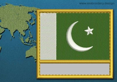 This Flag of Pakistan Customizable Text  with a Gold border design was digitized and embroidered by www.embroidery.design.
