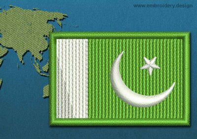 This Flag of Pakistan Mini with a Colour Coded border design was digitized and embroidered by www.embroidery.design.