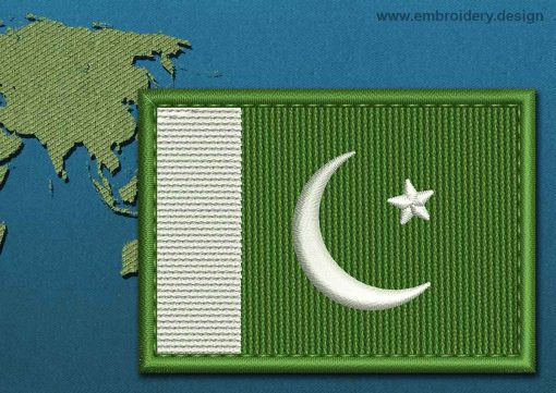 This Flag of Pakistan Rectangle with a Colour Coded border design was digitized and embroidered by www.embroidery.design.