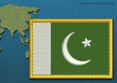 This Flag of Pakistan Rectangle with a Gold border design was digitized and embroidered by www.embroidery.design.
