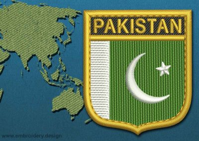 This Flag of Pakistan Shield with a Gold border design was digitized and embroidered by www.embroidery.design.