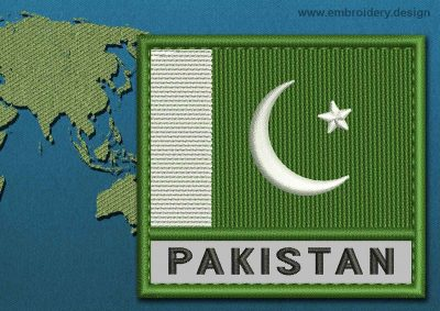 This Flag of Pakistan Text with a Colour Coded border design was digitized and embroidered by www.embroidery.design.