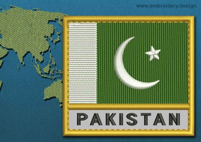 This Flag of Pakistan Text with a Gold border design was digitized and embroidered by www.embroidery.design.