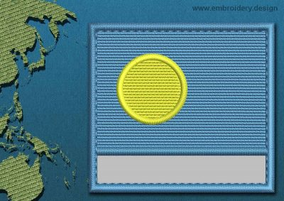 This Flag of Palau Customizable Text  with a Colour Coded border design was digitized and embroidered by www.embroidery.design.