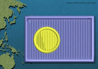This Flag of Palau Mini with a Colour Coded border design was digitized and embroidered by www.embroidery.design.