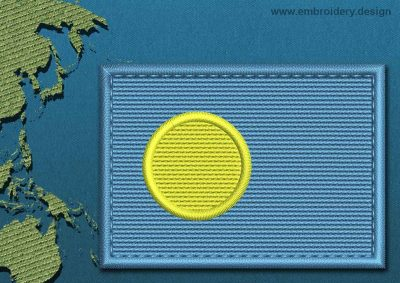 This Flag of Palau Rectangle with a Colour Coded border design was digitized and embroidered by www.embroidery.design.