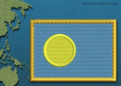 This Flag of Palau Rectangle with a Gold border design was digitized and embroidered by www.embroidery.design.