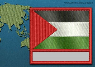 This Flag of Palestine Customizable Text  with a Colour Coded border design was digitized and embroidered by www.embroidery.design.