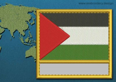 This Flag of Palestine Customizable Text  with a Gold border design was digitized and embroidered by www.embroidery.design.