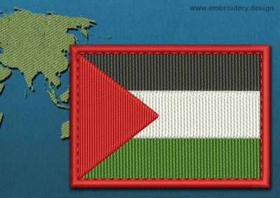 This Flag of Palestine Rectangle with a Colour Coded border design was digitized and embroidered by www.embroidery.design.