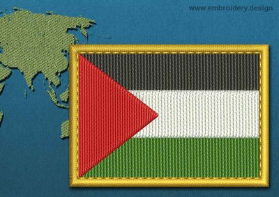 This Flag of Palestine Rectangle with a Gold border design was digitized and embroidered by www.embroidery.design.