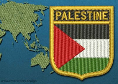 This Flag of Palestine Shield with a Gold border design was digitized and embroidered by www.embroidery.design.