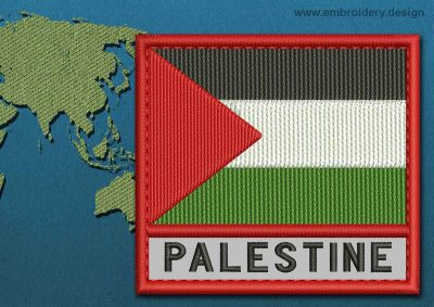 This Flag of Palestine Text with a Colour Coded border design was digitized and embroidered by www.embroidery.design.