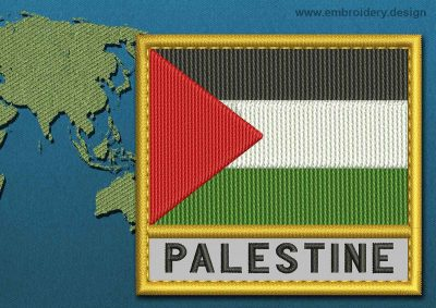 This Flag of Palestine Text with a Gold border design was digitized and embroidered by www.embroidery.design.